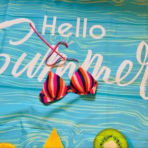 Multicolor striped bikini top